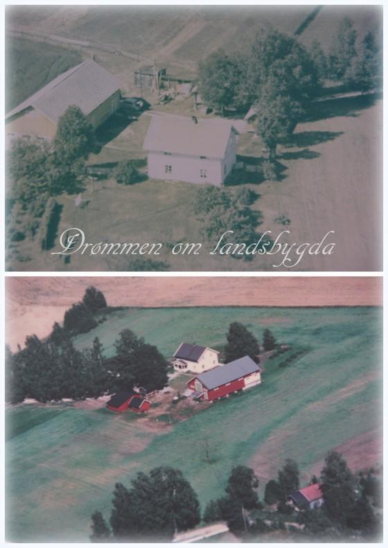 Flyfoto over småbruket, fra to ulike tidsepoker.